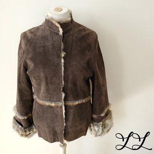 Lili Rose Jacket Coat Rabbit Fur Lined Suede Brown